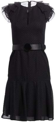 Akris Punto Fil Coupe Tiered Ruffle Cap Sleeve A-Line Dress