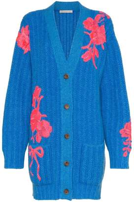 Christopher Kane floral embroidered cashmere cardigan