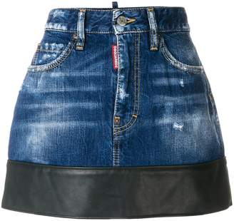 DSQUARED2 leather trim denim skirt