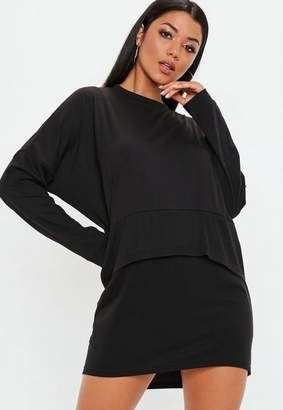 Missguided Black Oversized Jersey Overlay T Shirt Dress, Black