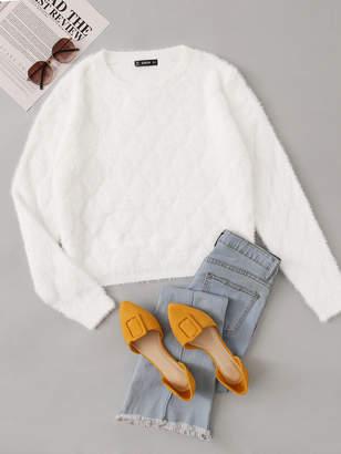 Shein Drop Shoulder Textured Fuzzy Sweater