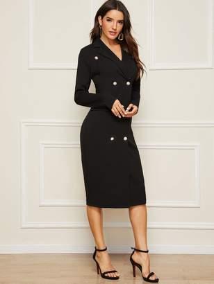 Shein Double Breasted Midi Blazer Dress
