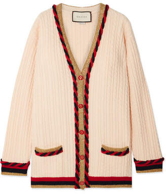 Gucci Oversized Wool And Cashmere-blend Cardigan - Ivory