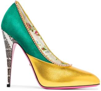 Gucci Yellow and Green Metallic 110 Heeled Pumps