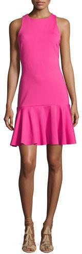Trina Turk Fantastic Sleeveless Ponte Flounce Dress, Brilliant Fuchsia