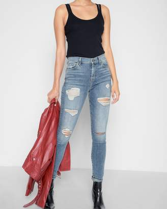 7 For All Mankind High Waist Skinny with Destroy in Light Lafayette