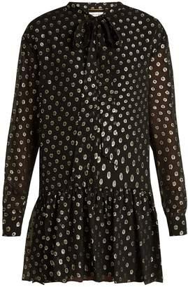 Saint Laurent Polka-dot fil coupé silk-blend dress
