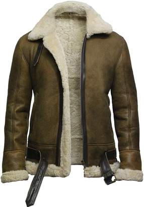 Brandslock Mens Aviator Real Shearling Sheepskin Leather Bomber Flying Jacket (XL, ic)