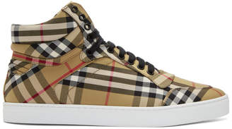 Burberry Black and Beige Reeth High-Top Sneakers