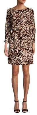 Vince Camuto Tied Leopard-Print Puff-Sleeve Dress
