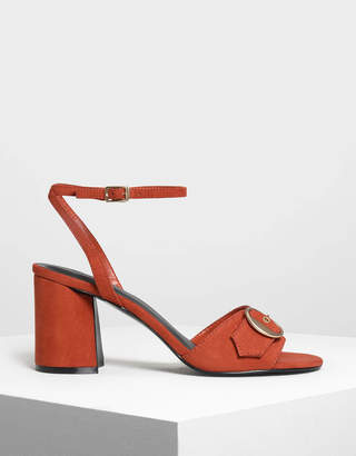 Charles & Keith Gold Buckle Detail Heeled Sandals