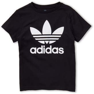 adidas Boys 8-20) Black & White Trefoil Tee