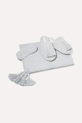 Skin - Cotton-blend Wrap, Eye Mask And Slipper Gift Set - Gray