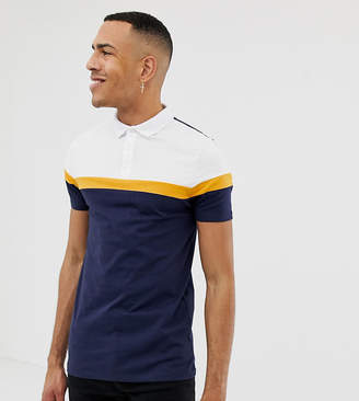 Asos DESIGN Tall polo shirt with cut and sew panels in navy