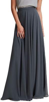 Omleas Omelas Women Long Floor Length Chiffon High Waist Skirt Maxi Bridesmaid Dress