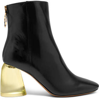 Ellery Leather And Perspex Ankle Boots - Black