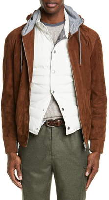 Brunello Cucinelli Suede Hooded Jacket