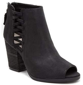 Rampage Women's Darrow Peep Toe Stacked Block Heel Zipper Ankle Boot