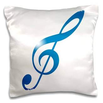 3dRose Bright Blue Gradient Musical Treble Clef, Pillow Case, 16 by 16-inch