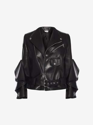 Alexander Mcqueen Leather Ruffle Jacket