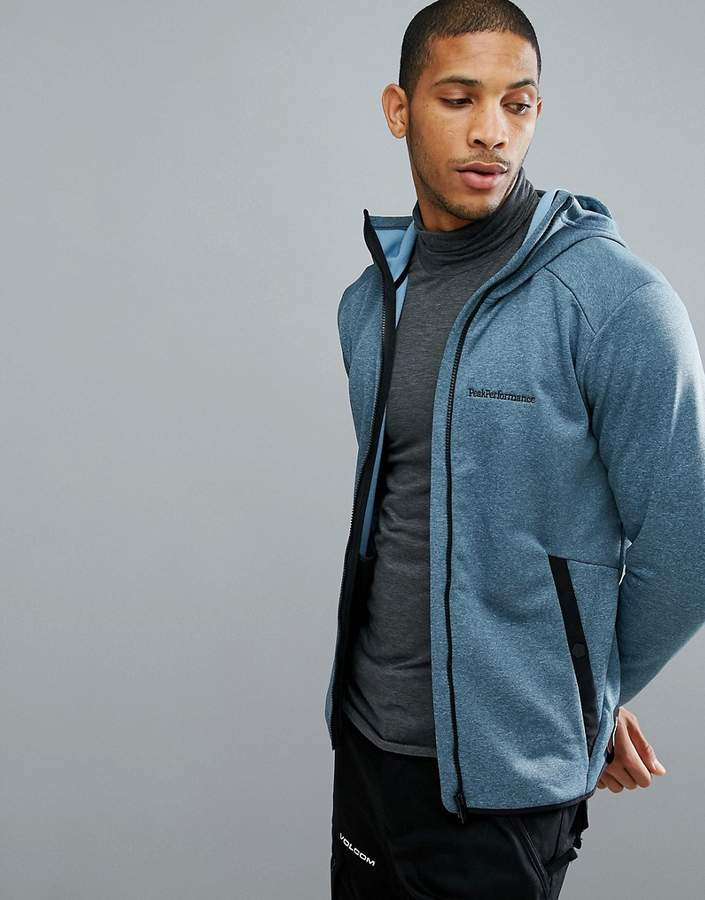 Peak Performance Fleece Half Zip Fleck Sweat In Blue