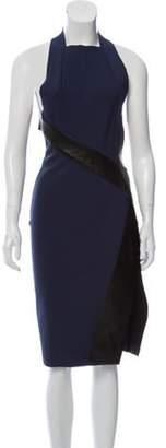 Dion Lee Leather-Trimmed Open Back Dress Navy Leather-Trimmed Open Back Dress