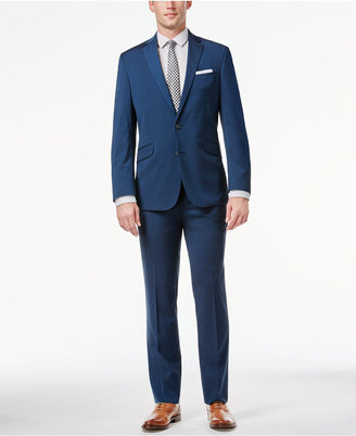 Kenneth Cole Reaction Midnight Blue Sharkskin Slim-Fit Suit $375 thestylecure.com