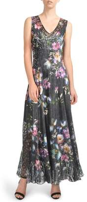 Komarov Floral Print Lace-Up Gown