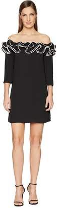 Halston Ruffle Detail Off Shoulder Flowy Dress Women's Dress