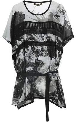 Roberto Cavalli Belted Tiered Printed Silk-Georgette Top