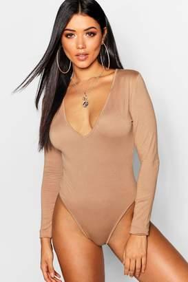 boohoo Plunge Long Sleeve Bodysuit