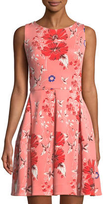 Taylor Floral-Print Sleeveless Fit-&-Flare Dress