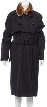 Saint Laurent Fur-Trimmed Trench Coat