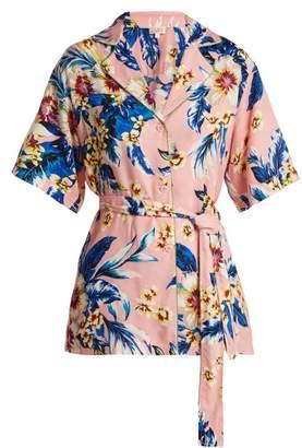 Diane von Furstenberg Floral Print Belted Shirt - Womens - Pink Print