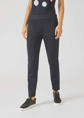 Emporio Armani Slim Fit Trousers In Scuba Fabric With Contrasting Side Band