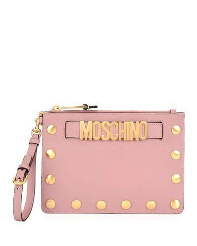 Moschino Moschino Studded Faux-Leather Wristlet Clutch Bag, Pink