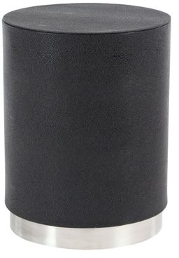 DecMode Decmode Modern Wood and Metal Round Black Accent Table, Black