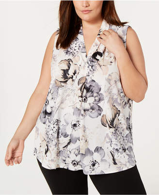 Calvin Klein Plus Size Printed Inverted-Pleat Top