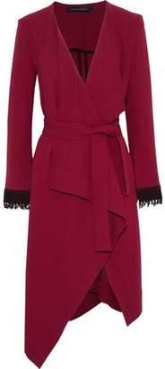 Roland Mouret Studham Lattice-Trimmed Wool-Crepe Wrap Jacket
