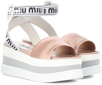 Miu Miu Logo satin platform sandals