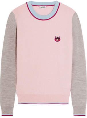 KENZO - Appliquéd Wool Sweater - Pastel pink $345 thestylecure.com