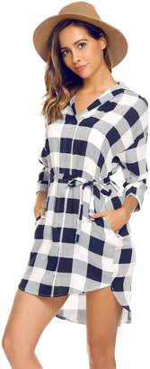 Meaneor Women's Plaid 3/4 Sleeve Denim Fla Casual Shirt Dress with Belt