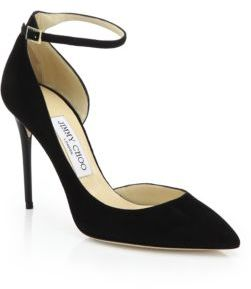 Jimmy Choo Lucy 100 Suede Ankle-Strap Pumps $695 thestylecure.com