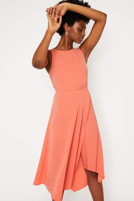 Warehouse Tie Back Midi Dress In Coral