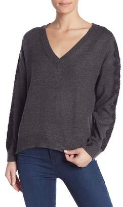 14th & Union Lace Trim V-Neck Sweater