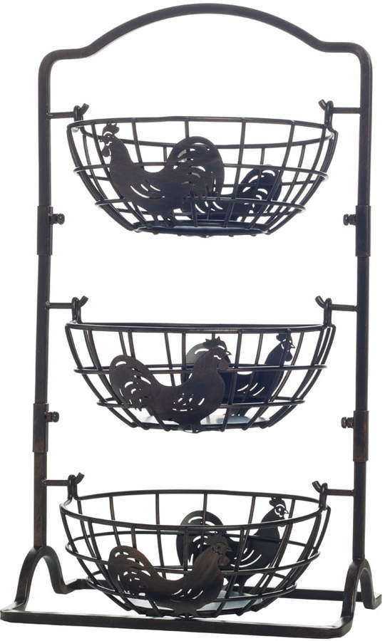 Gourmet Basics 3 Tier Rooster Hanging Basket