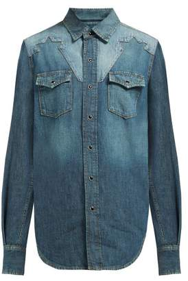 Saint Laurent Star Yoke Cotton Chambray Shirt - Womens - Denim