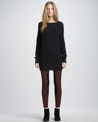 Theory Leather-Patch Skinny Pants