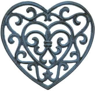 Stonebriar Rustic Turquoise Heart Shaped Cast-Iron Trivet