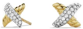 David Yurman 'X' Petite Earrings with Diamonds and Gold